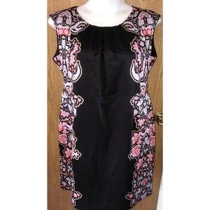 Black leaf print sides Suzanne Betro sheath dress